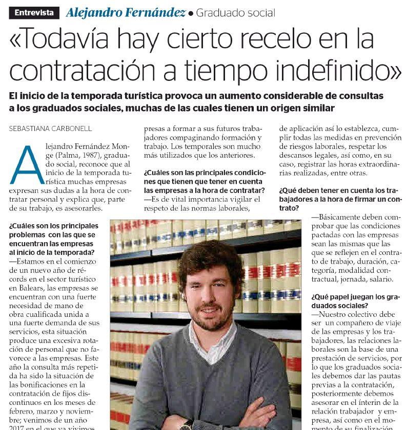Alejandro Fernández, entrevistado por el diario Ultima Hora con motivo del inicio de la temporada turística